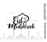 happy eid mubarak background...   Shutterstock .eps vector #1897059730