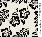 seamless pattern with hibiscus... | Shutterstock .eps vector #1897085809