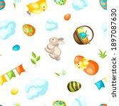 happy easter seamless pattern...   Shutterstock .eps vector #1897087630