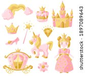 princess party items set. fairy ... | Shutterstock .eps vector #1897089643