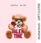 bear doll holding valentine... | Shutterstock .eps vector #1897111930