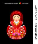 Matryoshkas of the World: portuguese girl in Minho Province dress - stock vector