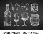 whiskey set. chalk sketch on... | Shutterstock .eps vector #1897156063