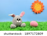Knitted Easter Bunny Next To A...