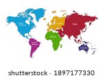world continents map  separate... | Shutterstock .eps vector #1897177330