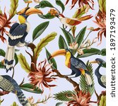 seamless pattern with birds and ... | Shutterstock .eps vector #1897193479
