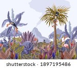 pattern with jungle animals ... | Shutterstock .eps vector #1897195486