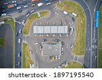 Aerial View Of Gas Station On...