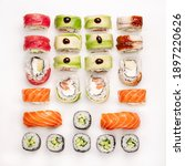 big colorful sushi set on a...   Shutterstock . vector #1897220626