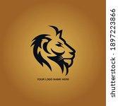 lion head logo design template. ... | Shutterstock .eps vector #1897223866