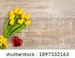 Yellow Tulips With Red Heart...