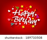 happy birthday card with star ... | Shutterstock .eps vector #189733508