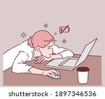 concept of tired people  stress ... | Shutterstock .eps vector #1897346536