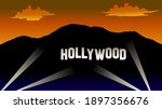 hollywood sign at night with... | Shutterstock .eps vector #1897356676