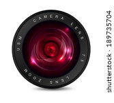 camera lens with red glass.... | Shutterstock .eps vector #189735704