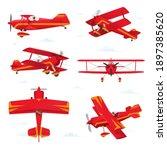 aerobatic biplane aircraft in...   Shutterstock .eps vector #1897385620