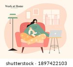 asian mom with pajamas holding...   Shutterstock .eps vector #1897422103