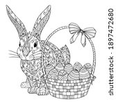 rabbit with basket and easter...   Shutterstock .eps vector #1897472680