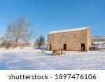 Sheep  Barn And Blue Sky In The ...