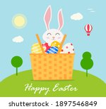 happy easter card with smiling... | Shutterstock .eps vector #1897546849