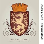 vintage emblem with lions with... | Shutterstock .eps vector #189755840