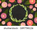 chalk floral card design. cute... | Shutterstock . vector #189758126