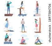 people characters looking ahead ...   Shutterstock .eps vector #1897584706