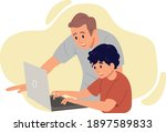 father with son looking at the...   Shutterstock .eps vector #1897589833
