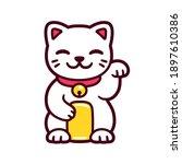 cute cartoon white maneki neko  ... | Shutterstock .eps vector #1897610386