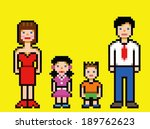 pixel art happy family video... | Shutterstock .eps vector #189762623
