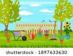 spring landscape in the garden... | Shutterstock .eps vector #1897633630