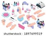 nail studio isometric set of... | Shutterstock .eps vector #1897699519