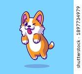 cute corgi dog jumping cartoon...   Shutterstock .eps vector #1897734979