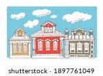 Wooden Russian Houses. Vector...