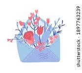 open love letter with flowers... | Shutterstock .eps vector #1897763239