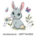 cute spring bunny in garden...   Shutterstock .eps vector #1897764583