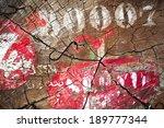 marking on a tree trunk cut | Shutterstock . vector #189777344