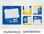 set of elegant blue and yellow... | Shutterstock .eps vector #1897809493