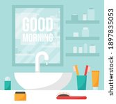 mirror  sink and shelf in the...   Shutterstock .eps vector #1897835053