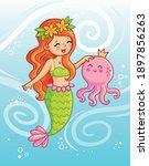 cute mermaid holds an octopus... | Shutterstock .eps vector #1897856263
