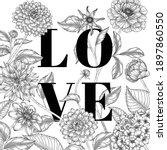 hand drawn floral valentine's...   Shutterstock .eps vector #1897860550