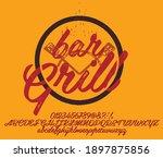 hand drawn vintage retro font.... | Shutterstock .eps vector #1897875856