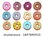 assorted donuts collection. top ... | Shutterstock .eps vector #1897890910