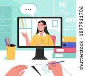online studying. vector flat... | Shutterstock .eps vector #1897911706