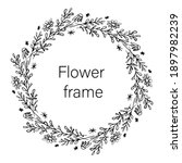 vector floral frame hand drawn... | Shutterstock .eps vector #1897982239