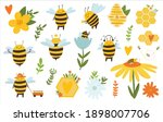 bee bundle. bee with honeycombs ...   Shutterstock .eps vector #1898007706