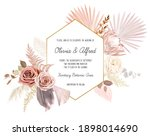 trendy dried palm leaves  blush ... | Shutterstock .eps vector #1898014690