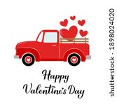 red retro truck. valentines day ...   Shutterstock .eps vector #1898024020