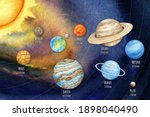 watercolor planets of the solar ... | Shutterstock . vector #1898040490