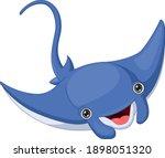 Cartoon Happy Stingray Isolated ...